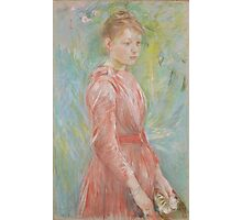 Berthe Morisot - Girl in Rose Dress 1888 Woman Portrait Fashion Photographic Print