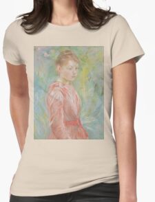 Berthe Morisot - Girl in Rose Dress 1888 Woman Portrait Fashion Womens Fitted T-Shirt