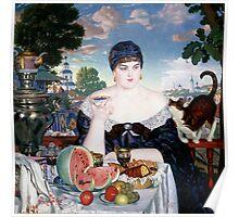 Boris Kustodiev - Merchant s Wife at Tea 1918 Poster