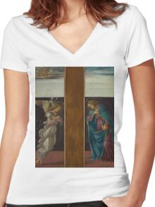 Botticelli  - Annunciation 1495 Woman Portrait  Women's Fitted V-Neck T-Shirt