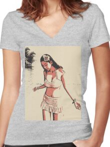 At the beach - sexy hula girl Women's Fitted V-Neck T-Shirt