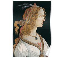 Botticelli  - Idealized Portrait of a Lady Portrait of Simonetta Vespucci as Nymph 1480 Poster