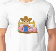 Rancher Dude With Cute Pigs (Kawaii Style) Unisex T-Shirt
