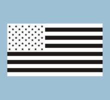 American Flag, NEGATIVE, America, Americana, on black, Stars & Stripes, Pure & Simple, USA Kids Tee