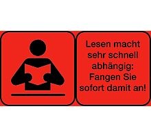 Vector Warnung Deutsch Lesen Abhängig Photographic Print