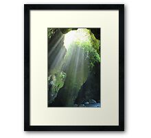 Sunlight Streaming Into a Cave Framed Print