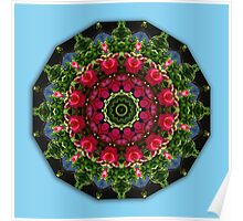 Red blossoms, Floral mandala-style Poster