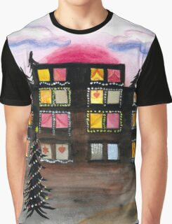 Building with Christmas Lights Graphic T-Shirt