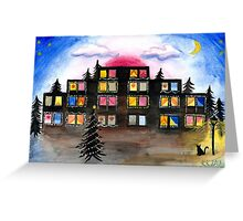 Building with Christmas Lights Greeting Card