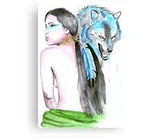 Native girl and her wolf Canvas Print