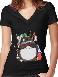 Mix Totoro Women's Fitted V-Neck T-Shirt