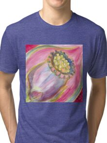 Red Campion Seed Pod - Abstract Watercolor Tri-blend T-Shirt
