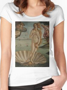 Botticelli  - The birth of Venus 1483 - 1485 Woman Portrait Fashion Women's Fitted Scoop T-Shirt