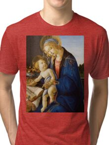 Botticelli  - The Virgin and Child The Madonna of the Book 1480 Woman Portrait  Tri-blend T-Shirt