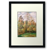 Camille Pissarro - Automne, Peupliers, Eragny Autumn, Poplars  French Impressionism Landscape Framed Print