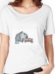 cute dog enjoys its bone Women's Relaxed Fit T-Shirt