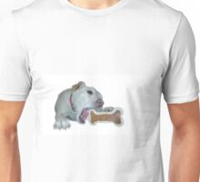 cute dog enjoys its bone Unisex T-Shirt