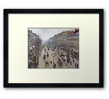 Camille Pissarro - Boulevard Montmartre, morning, cloudy weather 1897 French Impressionism Landscape Framed Print