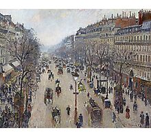Camille Pissarro - Boulevard Montmartre, morning, cloudy weather 1897 French Impressionism Landscape Photographic Print