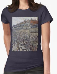 Camille Pissarro - Boulevard Montmartre, morning, cloudy weather 1897 French Impressionism Landscape Womens Fitted T-Shirt