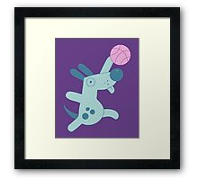 Puppy playing basketball Framed Print