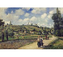 Camille Pissarro - Landscape near Pontoise, the Auvers Road, French Impressionism Landscape Photographic Print