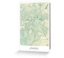 Ankara  Map Blue Vintage Greeting Card