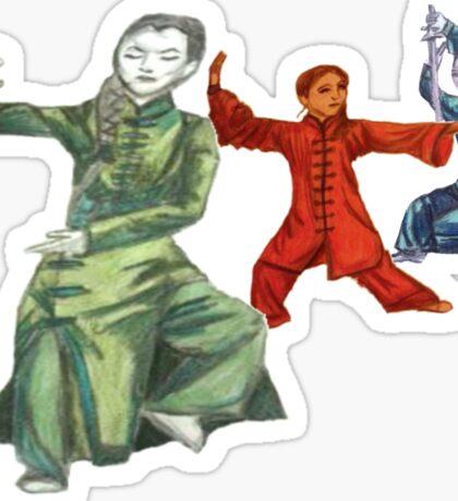 3 Female Martial Artists Sticker