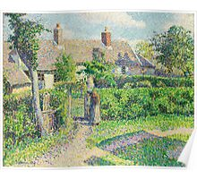 Camille Pissarro - Peasants  houses, Eragny 1887  French Impressionism Landscape Poster
