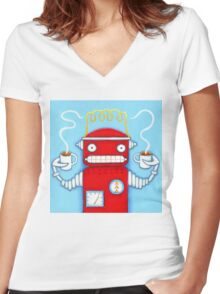 Welcome to the Robo Cafe Women's Fitted V-Neck T-Shirt