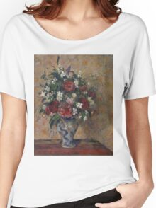 Camille Pissarro - Still life with peonies and mock orange 1872 - 1877 French Impressionism Landscape Women's Relaxed Fit T-Shirt