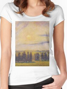 Camille Pissarro - Sunset at Eragny 1890 French Impressionism Landscape Women's Fitted Scoop T-Shirt