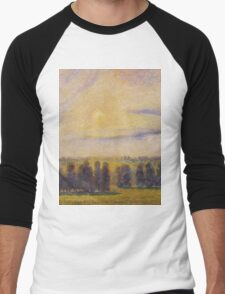 Camille Pissarro - Sunset at Eragny 1890 French Impressionism Landscape Men's Baseball ¾ T-Shirt