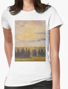 Camille Pissarro - Sunset at Eragny 1890 French Impressionism Landscape Womens Fitted T-Shirt
