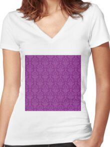 Purple Artwork Women's Fitted V-Neck T-Shirt