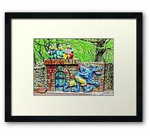 Three Little Cheerful Pigs  Framed Print