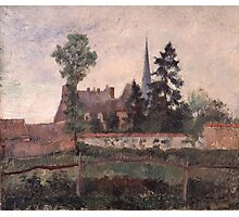 Camille Pissarro - The Church and the Farm at Eragny 1884 French Impressionism Landscape Photographic Print