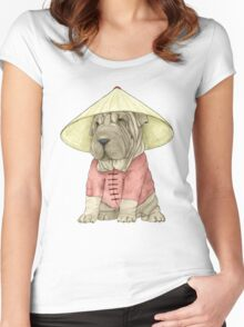 Shar Pei on The Great Wall Women's Fitted Scoop T-Shirt
