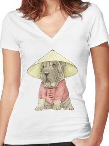 Shar Pei on The Great Wall Women's Fitted V-Neck T-Shirt