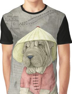Shar Pei on The Great Wall Graphic T-Shirt