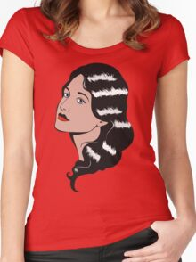 Girl in Pop Art style Women's Fitted Scoop T-Shirt