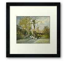 Camille Pissarro - The Goose Girl at Montfoucault White Frost 1875 French Impressionism Landscape Framed Print