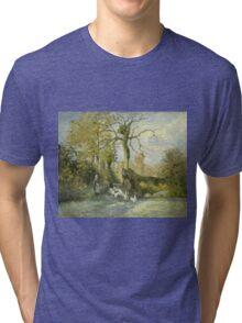 Camille Pissarro - The Goose Girl at Montfoucault White Frost 1875 French Impressionism Landscape Tri-blend T-Shirt