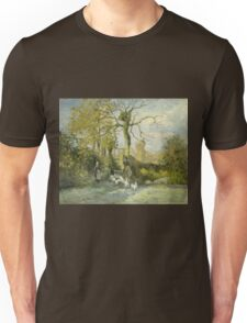 Camille Pissarro - The Goose Girl at Montfoucault White Frost 1875 French Impressionism Landscape Unisex T-Shirt