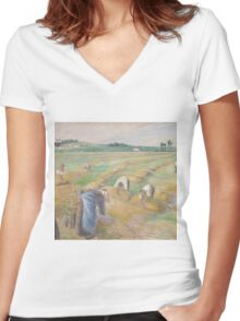 Camille Pissarro - The Harvest 1882 American Landscape French Impressionism Landscape Women's Fitted V-Neck T-Shirt