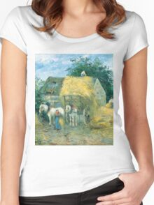 Camille Pissarro - The Hay Cart, Montfoucault 1879 American Landscape French Impressionism Landscape Women's Fitted Scoop T-Shirt