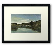 Camille Pissarro - The Marne at Chennevieres 1864  French Impressionism Landscape Framed Print