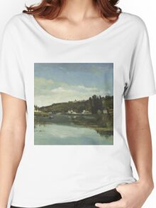 Camille Pissarro - The Marne at Chennevieres 1864  French Impressionism Landscape Women's Relaxed Fit T-Shirt