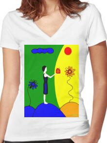 A LITTLE SOMETHING Women's Fitted V-Neck T-Shirt