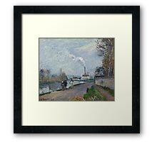 Camille Pissarro - The Oise near Pontoise in Grey Weather 1876  French Impressionism Landscape Framed Print